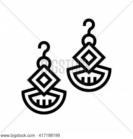 Earrings Jewellery Line Icon Vector. Earrings Jewellery Sign. Isolated Contour Symbol Black Illustra