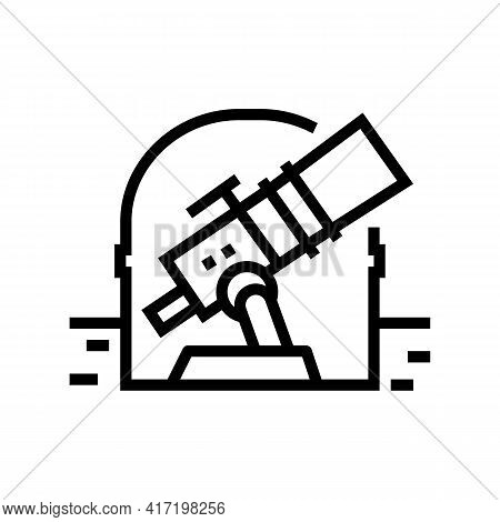 Telescope Of Observatory Line Icon Vector. Telescope Of Observatory Sign. Isolated Contour Symbol Bl