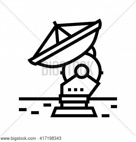 Antenna Radar Planetarium Line Icon Vector. Antenna Radar Planetarium Sign. Isolated Contour Symbol