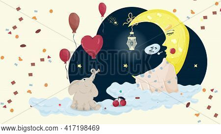 Illustration In Childrens Flat Cartoon Style For Childrens Bedroom Design Decoration, Moon Moon Slee
