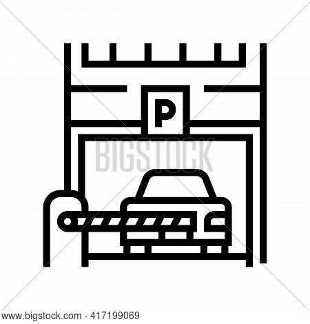 Barrier Of Parking Line Icon Vector. Barrier Of Parking Sign. Isolated Contour Symbol Black Illustra