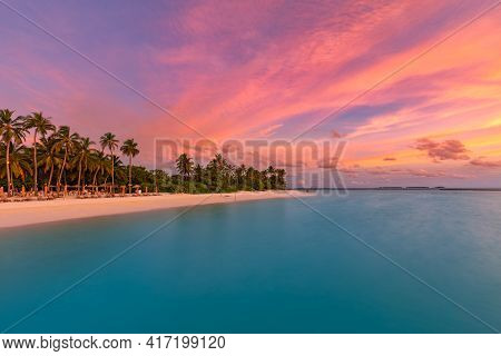Romantic Beach Scenery, Summer Vacation Or Honeymoon Background. Travel Adventure Sunset Landscape O