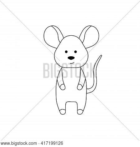 A Simple Silhouette Of A Cartoon Mouse. Primitive Outlines, A Funny Toy, A Fantasy. Cute Coloring Bo