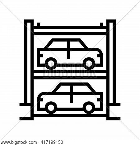 Multilevel Automobile Parking Line Icon Vector. Multilevel Automobile Parking Sign. Isolated Contour
