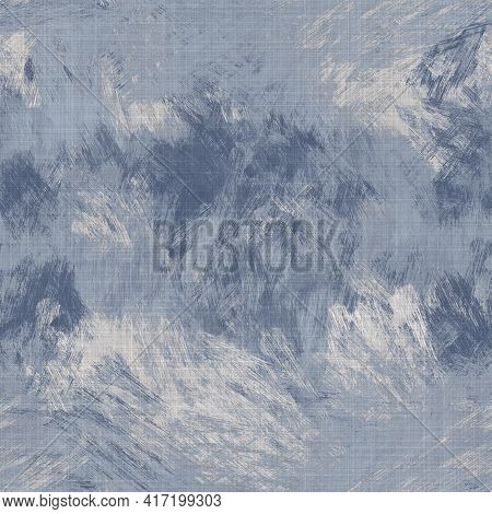 Seamless French Farmhouse Woven Linen Mottled Texture. Ecru Flax Blue Hemp Fiber. Natural Pattern Ba