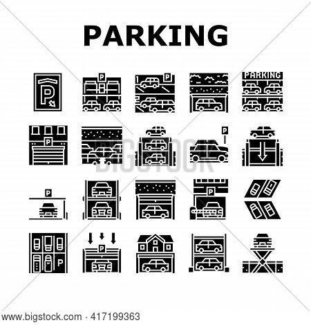 Underground Parking Collection Icons Set Vector. Underground Multilevel Parking Building, Barrier An