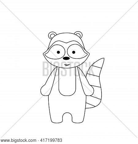 Simple Silhouette Of A Cartoon Raccoon. Primitive Outlines, A Funny Toy, A Fantasy. Cute Coloring Bo