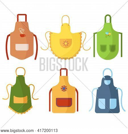 Cozy Colorful Kitchen Aprons With Patterns, Isolated On White Background. Protective Garment. Cookin