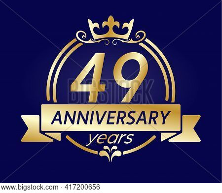 49 Year Anniversary. Gold Round Frame With Crown And Ribbon. Vector Illustration For Birthday, Weddi