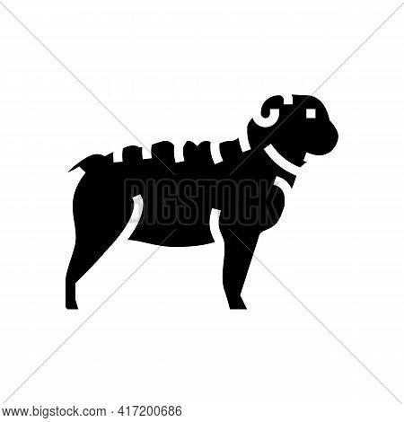 Bulldog Dog Line Icon Vector. Bulldog Dog Sign. Isolated Contour Symbol Black Illustration