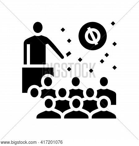 Speaker Talking About Planets And Stars In Planetarium Line Icon Vector. Speaker Talking About Plane