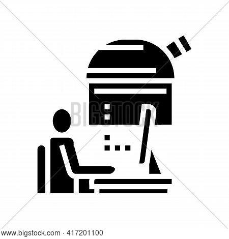 Digital Controlling Telescope In Observatory Line Icon Vector. Digital Controlling Telescope In Obse