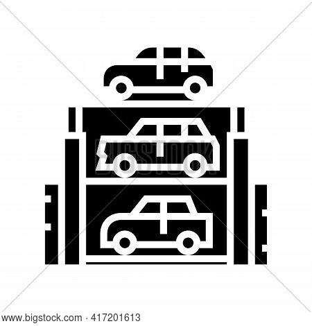 Lift Multilevel Equipment Parking Line Icon Vector. Lift Multilevel Equipment Parking Sign. Isolated