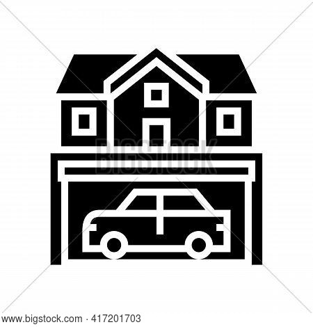 House Parking Line Icon Vector. House Parking Sign. Isolated Contour Symbol Black Illustration