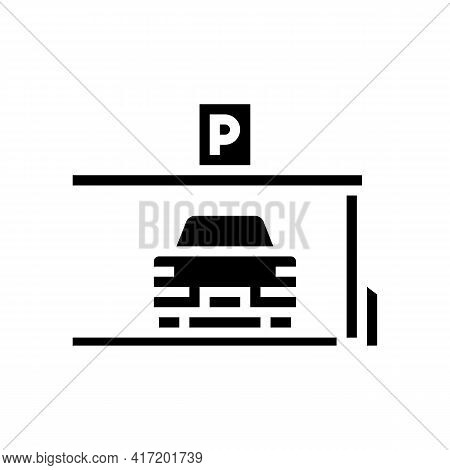 Car On Place Of Parking Line Icon Vector. Car On Place Of Parking Sign. Isolated Contour Symbol Blac
