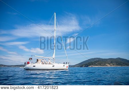 Vela Luka, Croatia - 29.03.2021: Sailing Luxury Yacht In The Sea At Sunny Day, Croatia