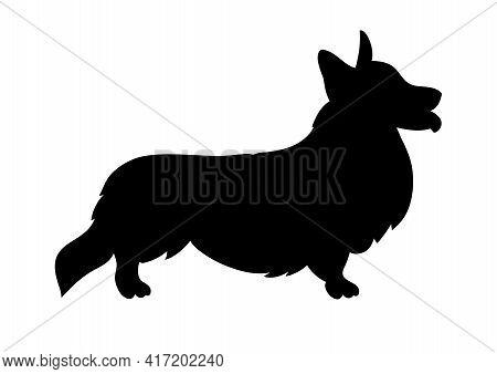 Standing Dog Black Silhouette Pembroke Welsh Corgi.