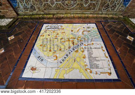 Seville, Spain - 07 April, 2019: The Mosaic Map On The Plaza De Espana In Seville, A Big Tourist Cen