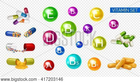Vitamins Minerals Boosting Energy 3d Colorful Realistic Set With Fruits Extracts Supplements Multivi