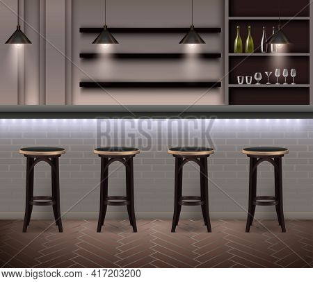 Bar Interior Realistic Background In Modern Design With Bar Counter High Chairs And Shelves With Alc