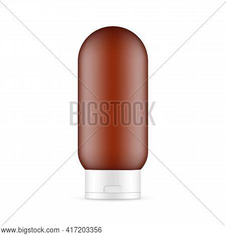 Frosted Amber Shampoo Bottle Mockup Isolated On White Background. Vector Illustration