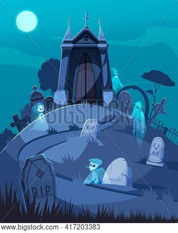 Old Cemetery Chapel And Ghosts Walking Among Tombstones Cartoon Vector Illustration