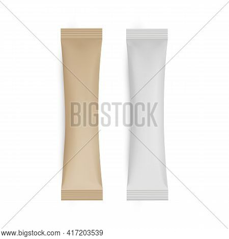 Paper And Kraft Sachet Mockup Isolated On White Background. Vector Illustration