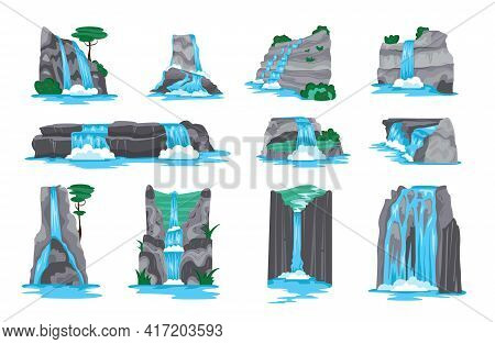Waterfall In Mountains Cartoon Set Of Decorative Elements For Video Game Interface Isolated On White