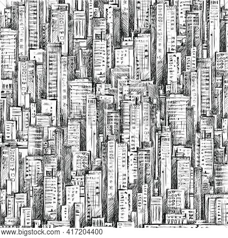 Illustration With Architecture, Skyscrapers, Megapolis Buildings Downtown
