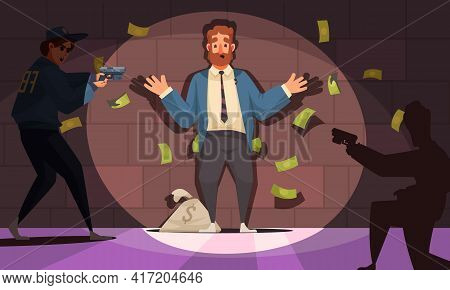 Dirty Money Corruption Cartoon Composition With Bribed Government Official Civil Servant Detention A