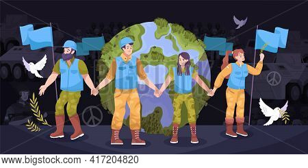 Peacekeepers Earth Flat Composition People In Overalls Guarding The Earth And Around Them Abstract I