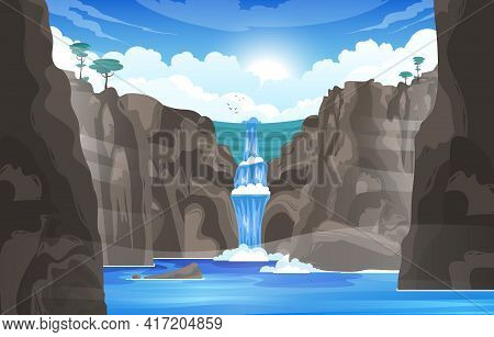 Waterfall Cartoon Background With River Stream Flowing Throw Rocks To Mountain Lake Flat Vector Illu