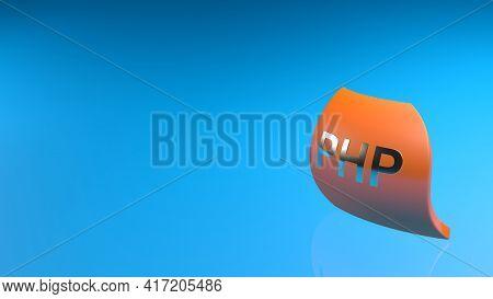 Php Orange Flag On Blue Background - 3d Rendering Illustration