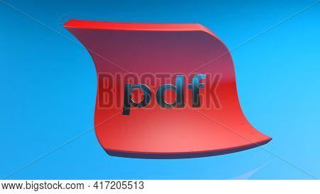 Pdf Curved Red Tag On Blue Background - 3d Rendering Illustration