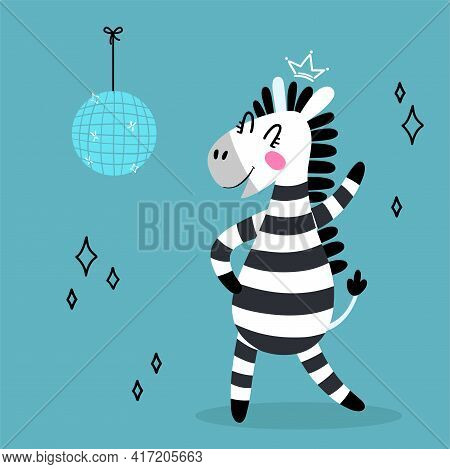 Dancing Zebra In Flat Cartoon Style. Funny Black And White Hand-drawn Horse With A Disco Ball. Vecto