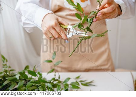 A Young Brunette Woman Florist In Apron Cuts Leaves From The Stems Before Starting To Create A Bouqu