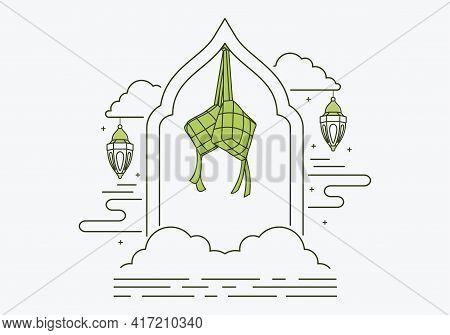 Eid Celebration Line Design On White Background, Thin Line Ketupat Icon Outlines Ketupat Symbol For
