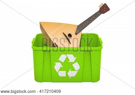 Recycling Trashcan With Balalaika. 3d Rendering Isolated On White Background