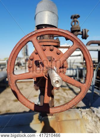 Closing Or Opening For Gas Or Water Supply Through A Pipeline. Shut-off Valves On The Pipeline Close