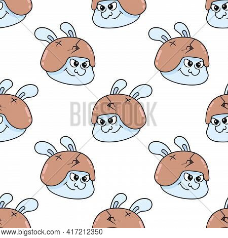 Army Rabbit Head Seamless Pattern Textile Print. Great For Summer Vintage Fabric, Scrapbooking, Wall