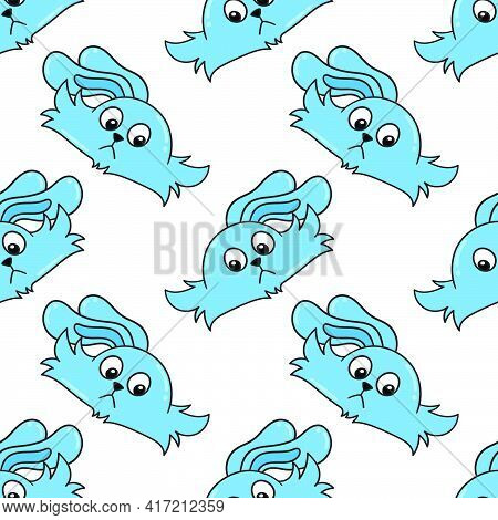 Blue Bunny Happy Seamless Pattern Textile Print. Great For Summer Vintage Fabric, Scrapbooking, Wall
