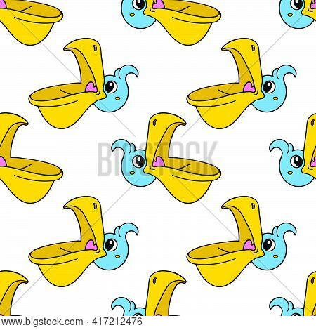 Pelican Head Opens Mouth Seamless Pattern Textile Print. Great For Summer Vintage Fabric, Scrapbooki