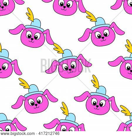 Cute Female Bunny Seamless Pattern Textile Print. Great For Summer Vintage Fabric, Scrapbooking, Wal
