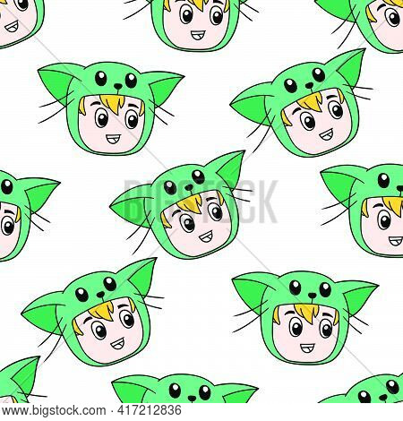 Kid Cat Costume Seamless Pattern Textile Print. Great For Summer Vintage Fabric, Scrapbooking, Wallp