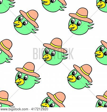 Summer Hat Duck Seamless Pattern Textile Print. Great For Summer Vintage Fabric, Scrapbooking, Wallp