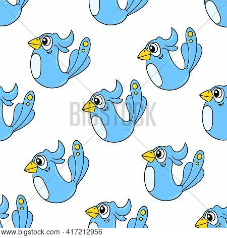 Blue Cute Bird Chick Seamless Pattern Textile Print. Great For Summer Vintage Fabric, Scrapbooking,
