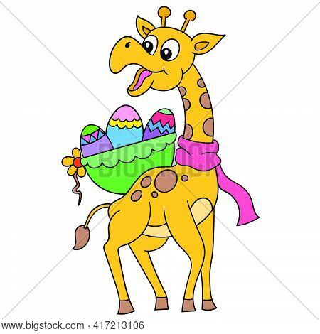 A Tall Giraffe With A Happy Face Carries A Basket Of Easter Eggs On Its Back, Vector Illustration Ar