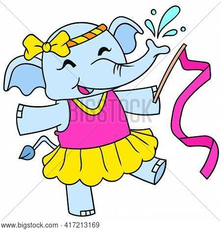 The Female Elephant Calf Happily Dances Ballet, Vector Illustration Art. Doodle Icon Image Kawaii.