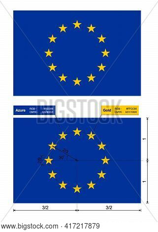 European Union Flag. Eu Flag, Official Colors, Correct Proportions And Location Of Stars. Vector Ill
