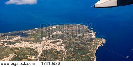 Plane view over the Majorca island